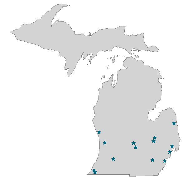 Michigan Map with Locations of Entities Offering Courses Statewide in Micourses Website